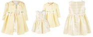 Bonnie Baby Baby Girls 2-Pc. Yellow Textured Coat & Stripe Dress Set